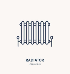 radiator flat logo line icon house heating vector image
