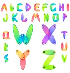 Rainbow candy alphabet with multicolored jems vector