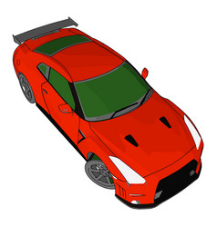 red race car with green windows and black vector image