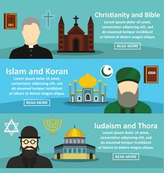 religion banner horizontal set flat style vector image