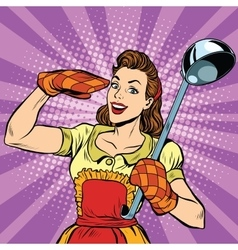 Retro housewife in kitchen vector