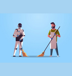 robotic janitor with man cleaner sweeping vector image