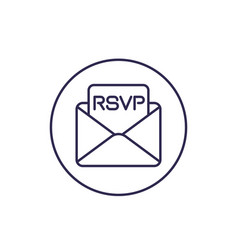 Rsvp icon line design vector