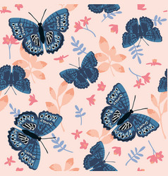 seamless pattern with bright butterflies leaves vector image
