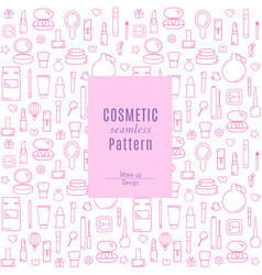 seamless pattern with makeup products and vector image