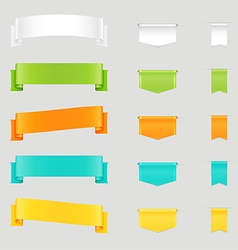 set colorful web ribbons and bookmarks vector image