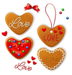 set happy valentines day cookie vector image