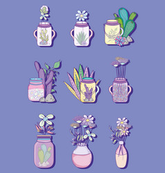 Set of mason jar with flowers drawings vector