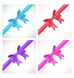 set shiny bow and ribbon on white background vector image