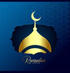 shiny golden mosque design for ramadan kareem vector image