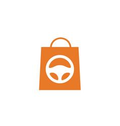 Shopping bag car store shop buy sell logo vector