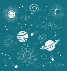 solar system planets with asteroids and stars vector image