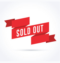 sold out banner with red ribbon vector image