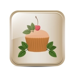 Square button with cupcake and leaves vector