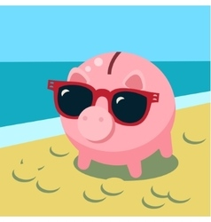 Summer piggy bank vector image