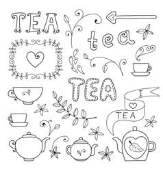 Tea card set elements for design vector