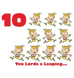 Ten lords leaping cartoon vector