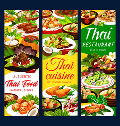 thai cuisine restaurant dishes banners vector image