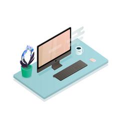 the desktop flat vector image