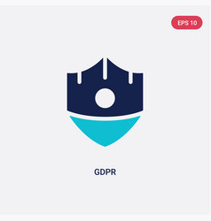 two color gdpr icon from concept isolated blue vector image