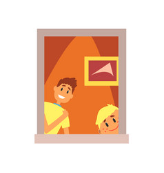 two smiling kids looking out of window boys vector image