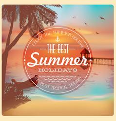 vintage card beautiful sunset on beach vector image
