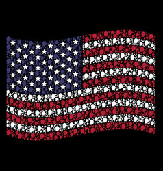 Waving american flag stylization of lier vector