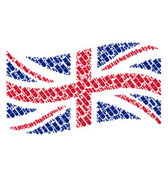 waving united kingdom flag mosaic of aviation bomb vector image
