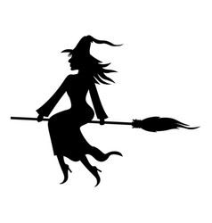 Witch with broom and kitty vector