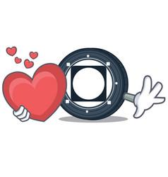 With heart byteball bytes coin mascot cartoon vector