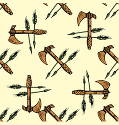 ax and arrows seamless pattern background vector image