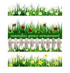 Big Green Grass seamless set vector image vector image