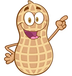 Peanut Cartoon Character Holding A Finger Up vector image