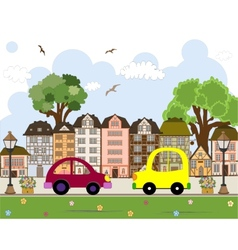 Car passing by in abstract city vector image vector image