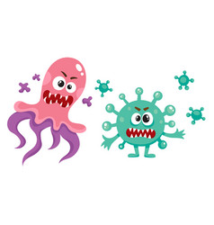 Couple of ugly virus germ bacteria characters vector