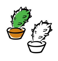 hand drawing cartoon cactus vector image vector image
