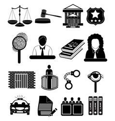 Law court icons set vector image