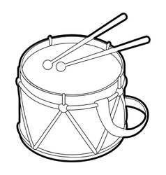 Toy drum icon outline style vector image vector image