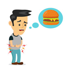 young suffering man is hungry thinks about food vector image
