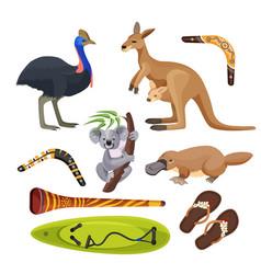 australia symbols isolated koala kangaroo vector image vector image