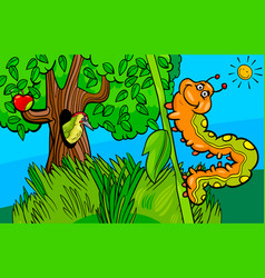 caterpillar insect cartoon character vector image vector image