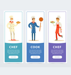 colorful banners set with professional restaurant vector image vector image