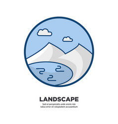 landscape logo icon in circle shape isolated on vector image