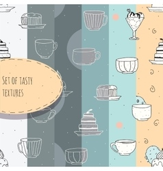 Set of hand-drawn textures with tea and coffee vector image