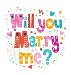 Will you Marry me retro typography lettering vector image vector image