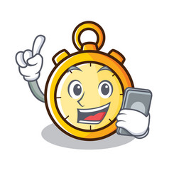 with phone chronometer character cartoon style vector image vector image
