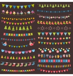 Christmas flags bunting and garland collection vector image vector image