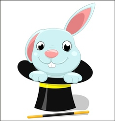 cute bunny on magician hat vector image
