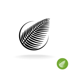 Palm leaf black silhouette logo icon in a round vector image vector image