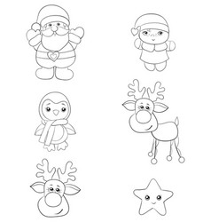 a set christmas icons imageline art style vector image